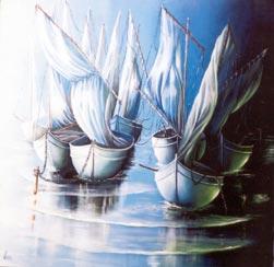 Um sorriso que era vento, desenrolado no azul, em que as minhas velas pandas enfunavam para o Sul, rumo a qualquer fim do mundo...